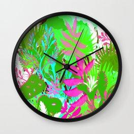Jungle Garden Greens and Pinks Wall Clock