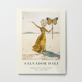 Vintage poster-Salvador Dali-Woman with a butterfly.  Metal Print