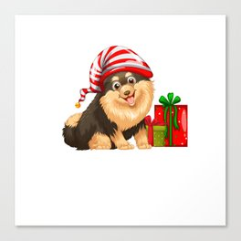 Christmas theme with cute dog and present Canvas Print