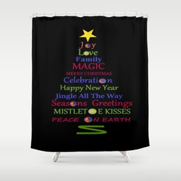 Holiday Tree - Black Shower Curtain