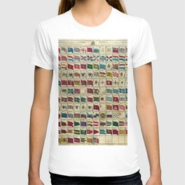 Vintage Naval Flags of The World Illustration T-shirt