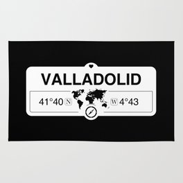 Valladolid Castile and León with World Map GPS Coordinates Rug
