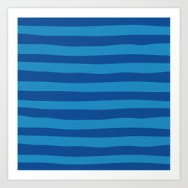 Dark Blue & Turquoise Stripes Pattern Art Print