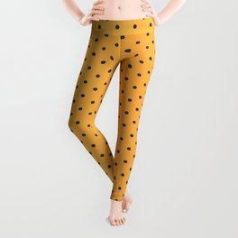 Golden Yellow and Black Polka Dots Leggings