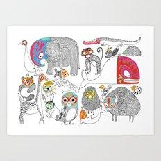 Animales Luchadores Art Print
