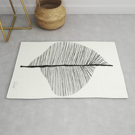 Abstract Leaf Art Print - Nature Art Print Black and whit Rug