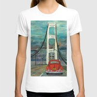 volkswagon T-shirts featuring VW Bug on Mackinac Bridge by Barb Laskey Studio