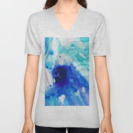 Modern Abstract Art - Blue Marble by Sharon Cummings Unisex V-Neck