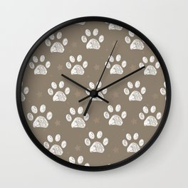 White doodle paw print and little stars with brown Wall Clock