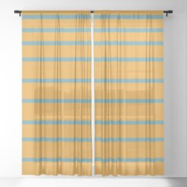 Variable Stripes Minimalist Mustard Orange and Turquoise Blue Sheer Curtain