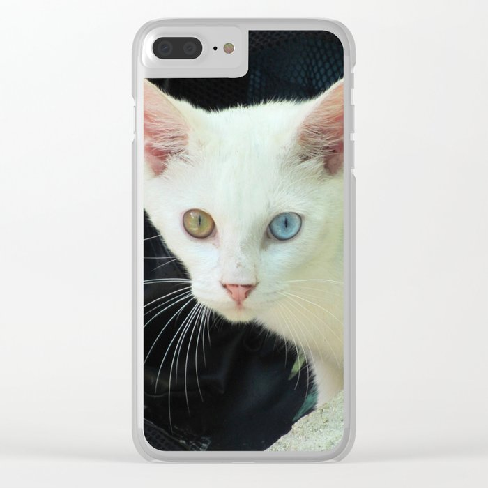 Blue And Green Eyed Cat Clear iPhone Case