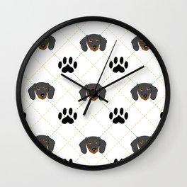 Dachshund Paw Print Pattern Wall Clock