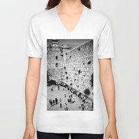 western V-neck T-shirts featuring Western Wall by Emily Lewin