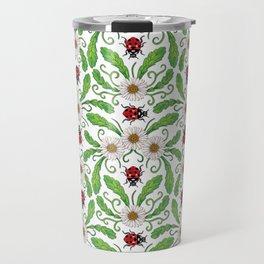 Ladybugs & Daisies - Cute Floral Bug Pattern with Ladybirds Travel Mug