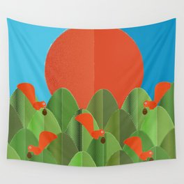 red squirrels at the sunset Wall Tapestry