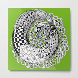 Zentangle Mobius Twist on Sage Green-  to Inspire Creativity and Joy. Metal Print