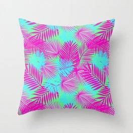 Neon Pink & Blue Tropical Print Throw Pillow
