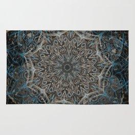 Smoke Swirl Blue Mandala Rug