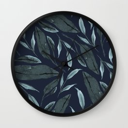 Leafy Vibes (Navy) Wall Clock