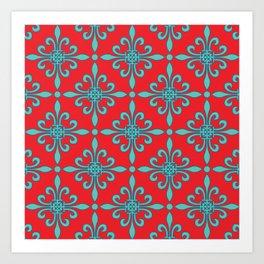 Fleur de Lis - Red & Turquoise Art Print