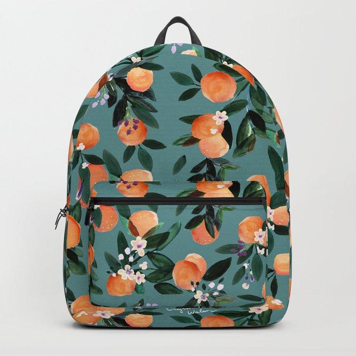 Dear Clementine - oranges teal by Crystal Walen Rucksack
