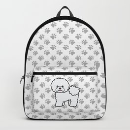 Cute White Bichon Frise Dog Cartoon Illustration Backpack
