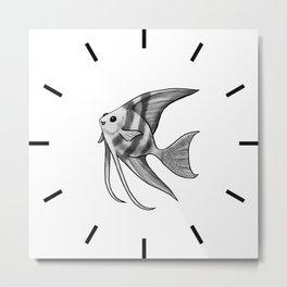Silver Striped Angelfish Metal Print