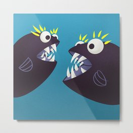 Funny Fish Monsters Talking Metal Print