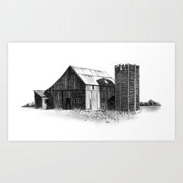 Old Barn and Silo: Original Pencil Drawing, Country, Farm Art Print