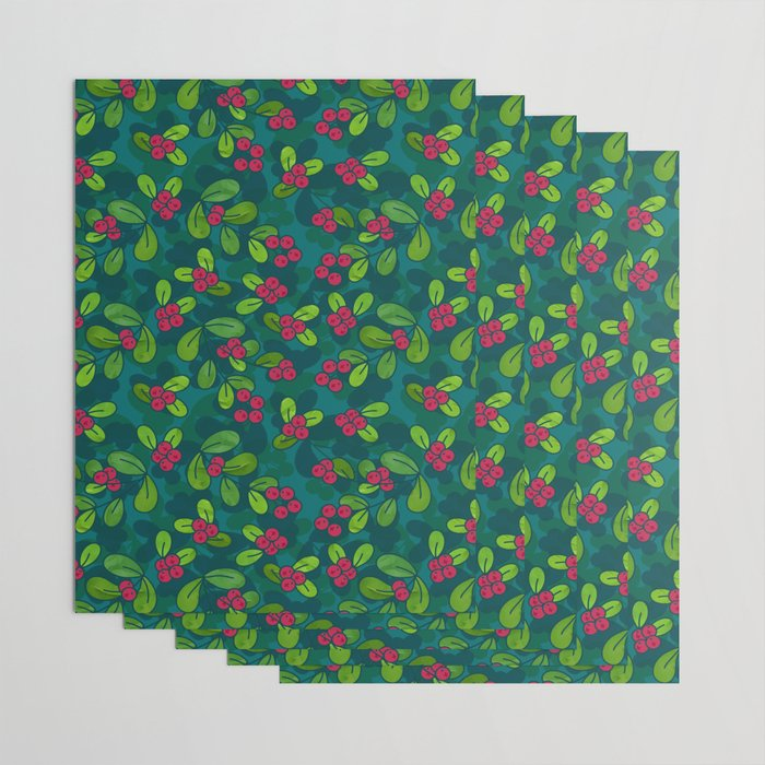 Cranberry Fruit Pattern on Dark Teal Wrapping Paper