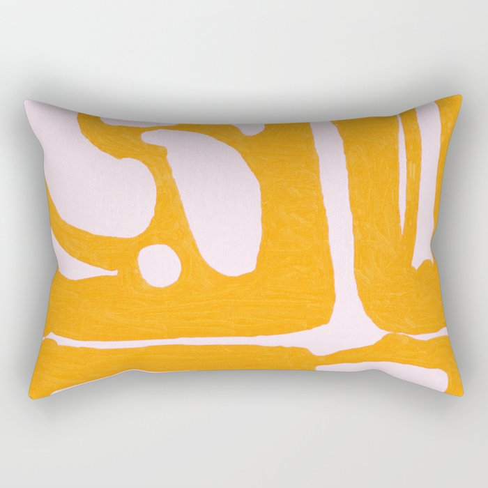 Abstract in Yellow and Cream Rectangular Pillow