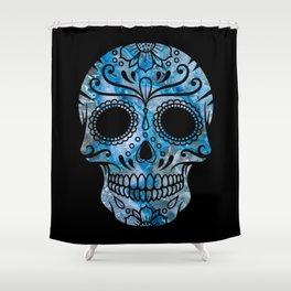 Blue Lace Sugar Skull Shower Curtain