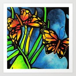 Beautiful Monarch Butterflies Fluttering Over Palm Fronds by annmariescreations Art Print