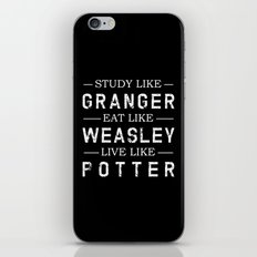 STUDY LIKE GRANGER, EAT LIKE WEASLEY, LIVE LIKE POTTER iPhone Skin