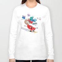 skiing Long Sleeve T-shirts featuring Santa Skiing 1 by Studio Drawgood