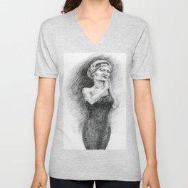 Untitled - charcoal drawing Unisex V-Neck