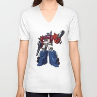 optimus prime V-neck T-shirts featuring Optimus by CromMorc
