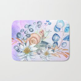 Snail and waterlily, Bath Mat