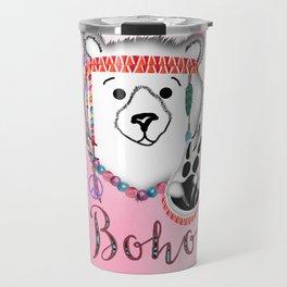 Bearly Boho Polar Bear Hippie Travel Mug