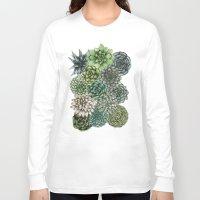 succulents Long Sleeve T-shirts featuring An Assortment of Succulents by ECMazur