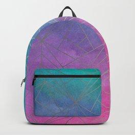 Watercolor Geometric Silver Pattern Art Backpack