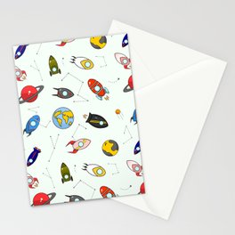 Rockets and planets space print Stationery Cards