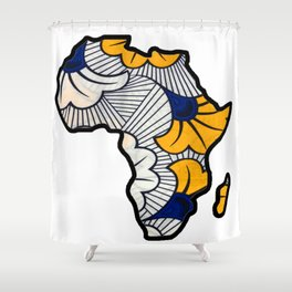 Blue and Gold floral Africa Map Shower Curtain