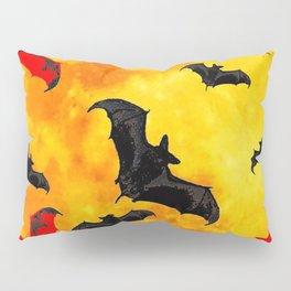 DECORATIVE FULL MOON  FLYING BLACK BATS HALLOWEEN Pillow Sham