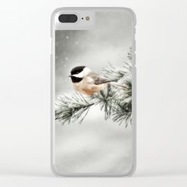 Winter Chickadee Clear iPhone Case