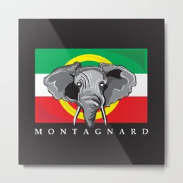 Montagnard Flag, Black Background Metal Print