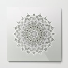 Mandala Flowers Grey Green Metal Print
