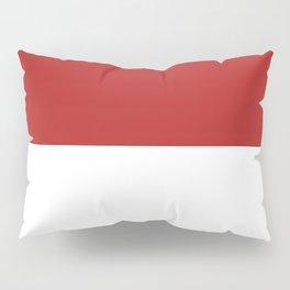 White and Firebrick Red Horizontal Halves Pillow Sham