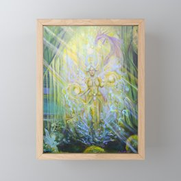 Magical Nebias forest original oil painting, Fairy tale forest painting, Fairies and dragon oil on c Framed Mini Art Print