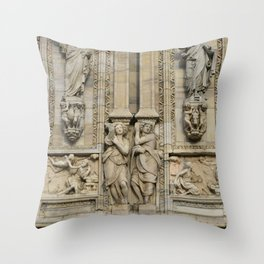 Milan Cathedral / Exteror Study / Piazza Duomo - Italy Throw Pillow